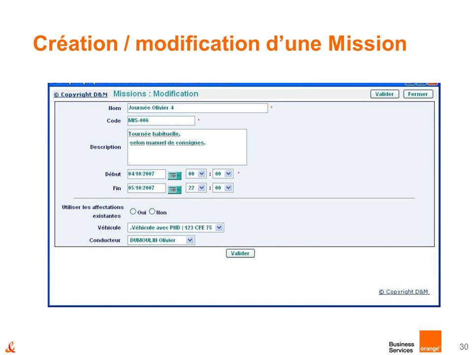 30 Création / modification dune Mission