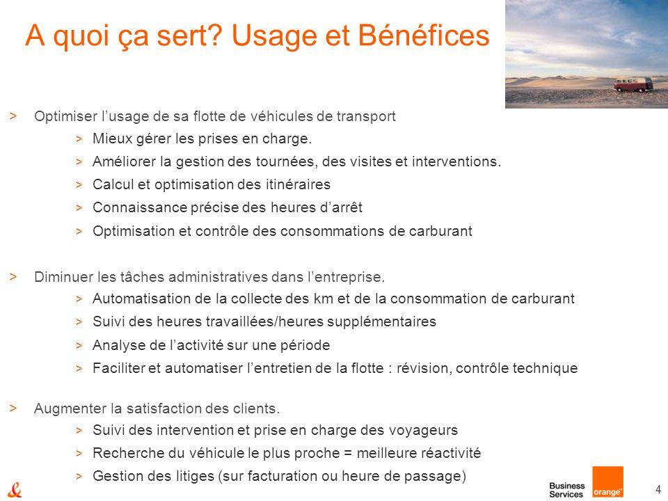 4 A quoi ça sert? Usage et Bénéfices >Optimiser lusage de sa flotte de véhicules de transport > Mieux gérer les prises en charge. > Améliorer la gesti