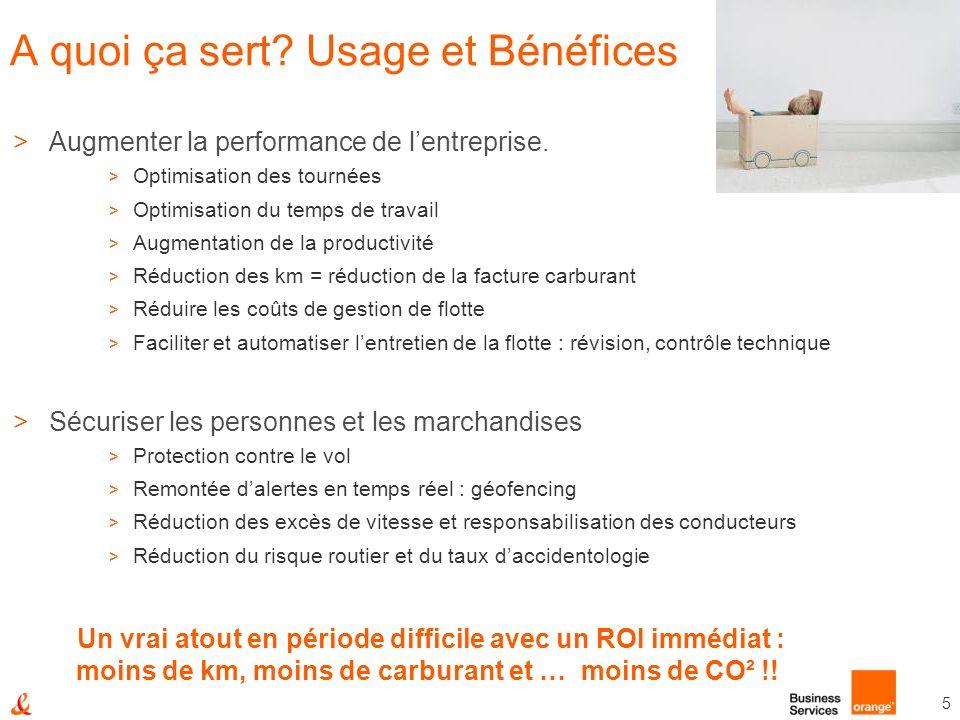 5 A quoi ça sert? Usage et Bénéfices >Augmenter la performance de lentreprise. > Optimisation des tournées > Optimisation du temps de travail > Augmen