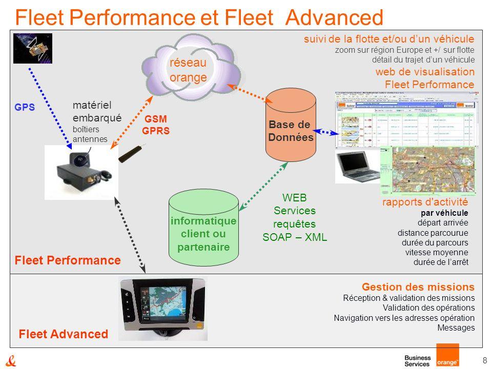 8 Fleet Performance et Fleet Advanced Base de Données informatique client ou partenaire matériel embarqué boîtiers antennes réseau orange Fleet Perfor