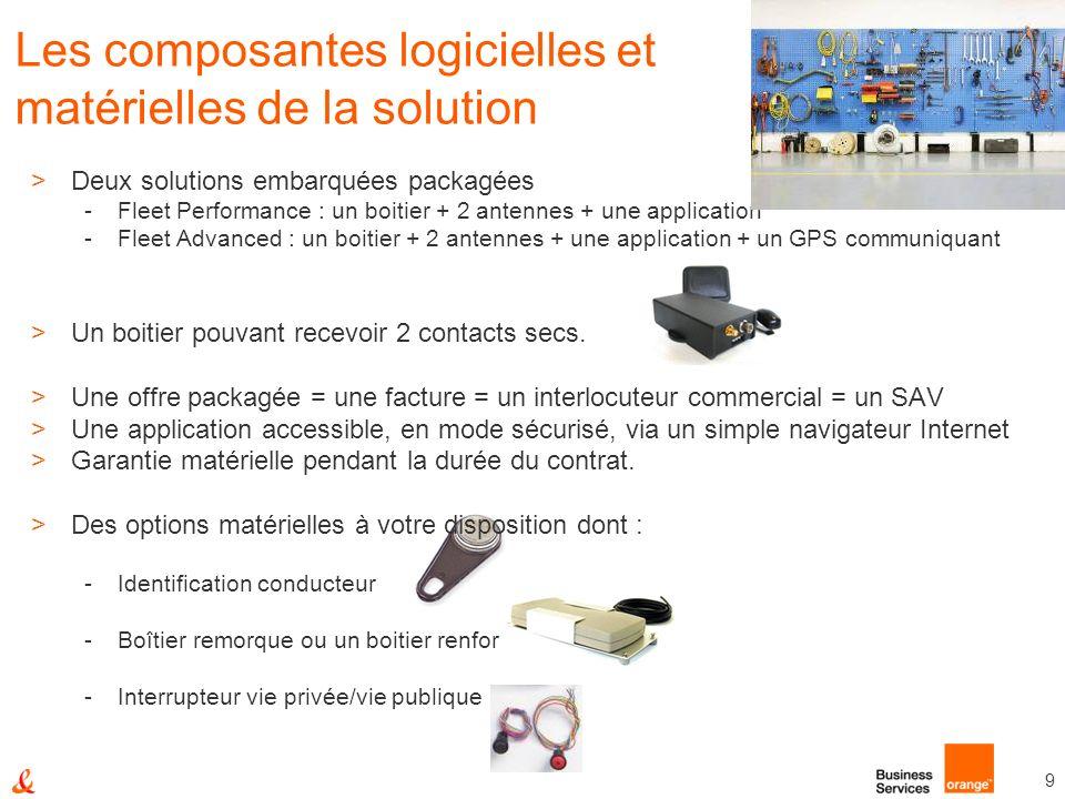 9 Les composantes logicielles et matérielles de la solution >Deux solutions embarquées packagées -Fleet Performance : un boitier + 2 antennes + une ap