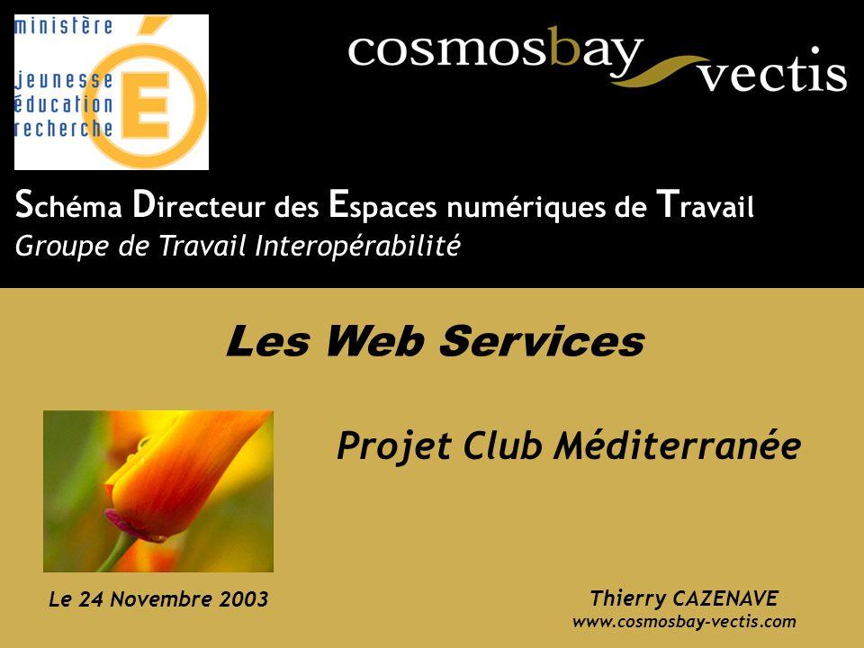 www.cosmosbay.com Thierry CAZENAVE www.cosmosbay-vectis.com Projet Club Méditerranée Le 24 Novembre 2003 S chéma D irecteur des E spaces numériques de T ravail Groupe de Travail Interopérabilité Les Web Services