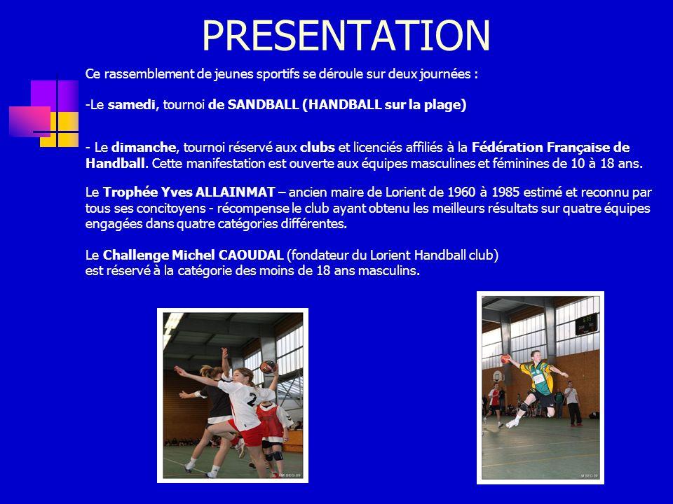 PRESENTATION Ce rassemblement de jeunes sportifs se déroule sur deux journées : -Le samedi, tournoi de SANDBALL (HANDBALL sur la plage) - Le dimanche, tournoi réservé aux clubs et licenciés affiliés à la Fédération Française de Handball.
