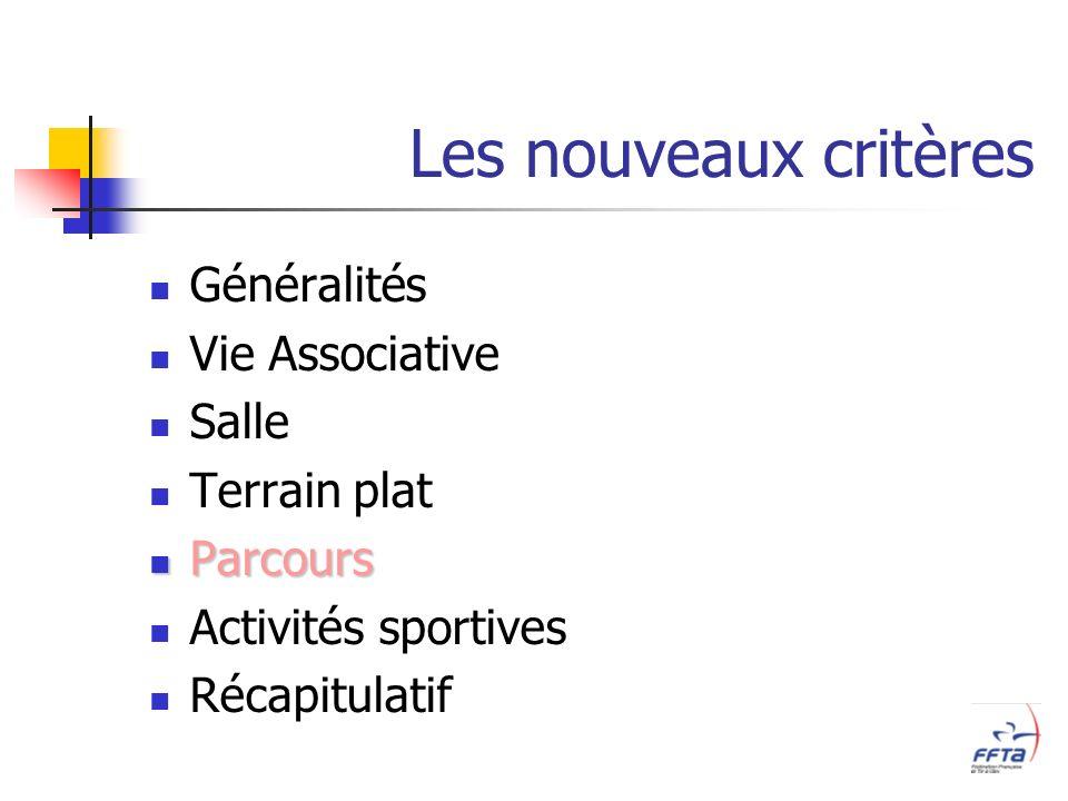 Les nouveaux critères Généralités Vie Associative Salle Terrain plat Parcours Parcours Activités sportives Récapitulatif