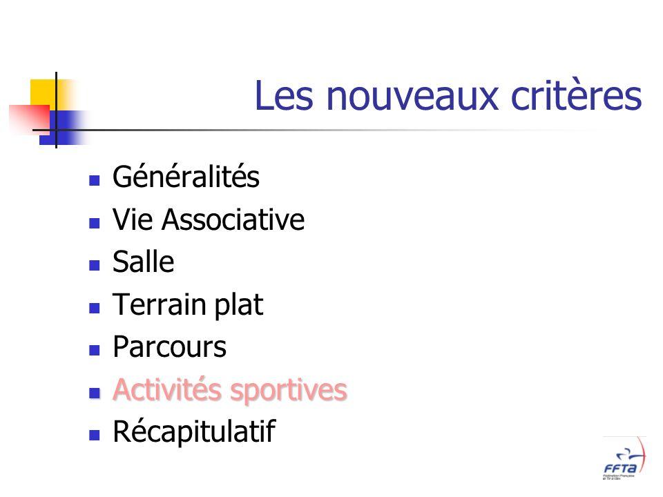 Les nouveaux critères Généralités Vie Associative Salle Terrain plat Parcours Activités sportives Activités sportives Récapitulatif