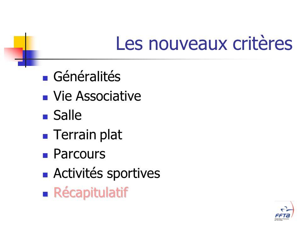 Les nouveaux critères Généralités Vie Associative Salle Terrain plat Parcours Activités sportives Récapitulatif Récapitulatif