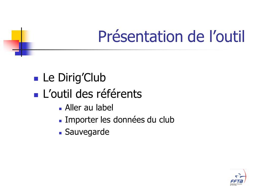 Présentation de loutil Le DirigClub Loutil des référents Aller au label Importer les données du club Sauvegarde