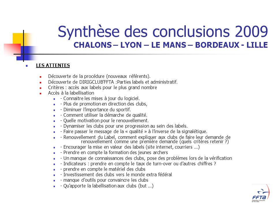 Synthèse des conclusions 2009 CHALONS – LYON – LE MANS – BORDEAUX - LILLE LES ATTENTES Découverte de la procédure (nouveaux référents).
