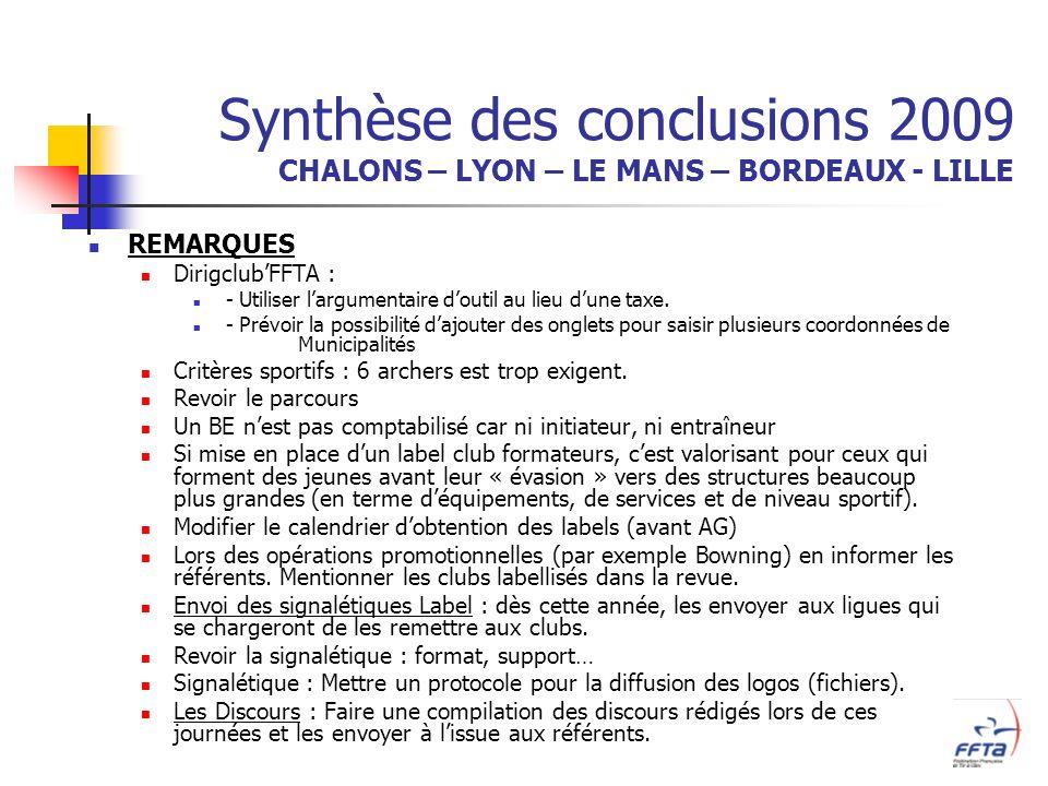 Synthèse des conclusions 2009 CHALONS – LYON – LE MANS – BORDEAUX - LILLE REMARQUES DirigclubFFTA : - Utiliser largumentaire doutil au lieu dune taxe.