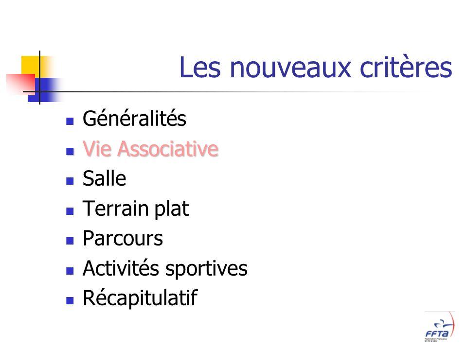 Les nouveaux critères Généralités Vie Associative Vie Associative Salle Terrain plat Parcours Activités sportives Récapitulatif