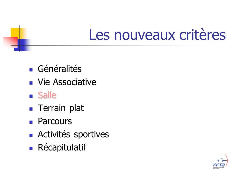 Les nouveaux critères Généralités Vie Associative Salle Salle Terrain plat Parcours Activités sportives Récapitulatif