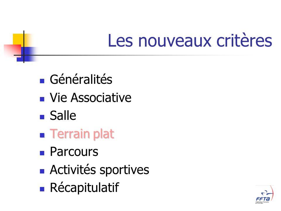 Les nouveaux critères Généralités Vie Associative Salle Terrain plat Terrain plat Parcours Activités sportives Récapitulatif
