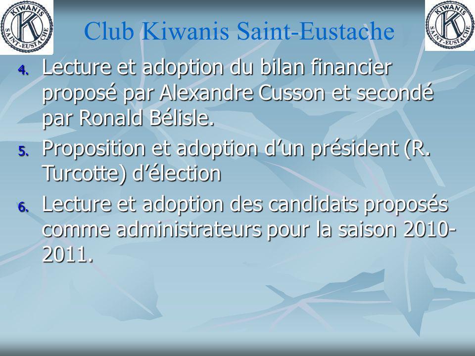 Club Kiwanis Saint-Eustache 7.La seule présentation dun nouveau CA fut faite par René Goyer.
