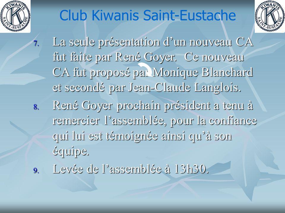 Club Kiwanis Saint-Eustache 7. La seule présentation dun nouveau CA fut faite par René Goyer.