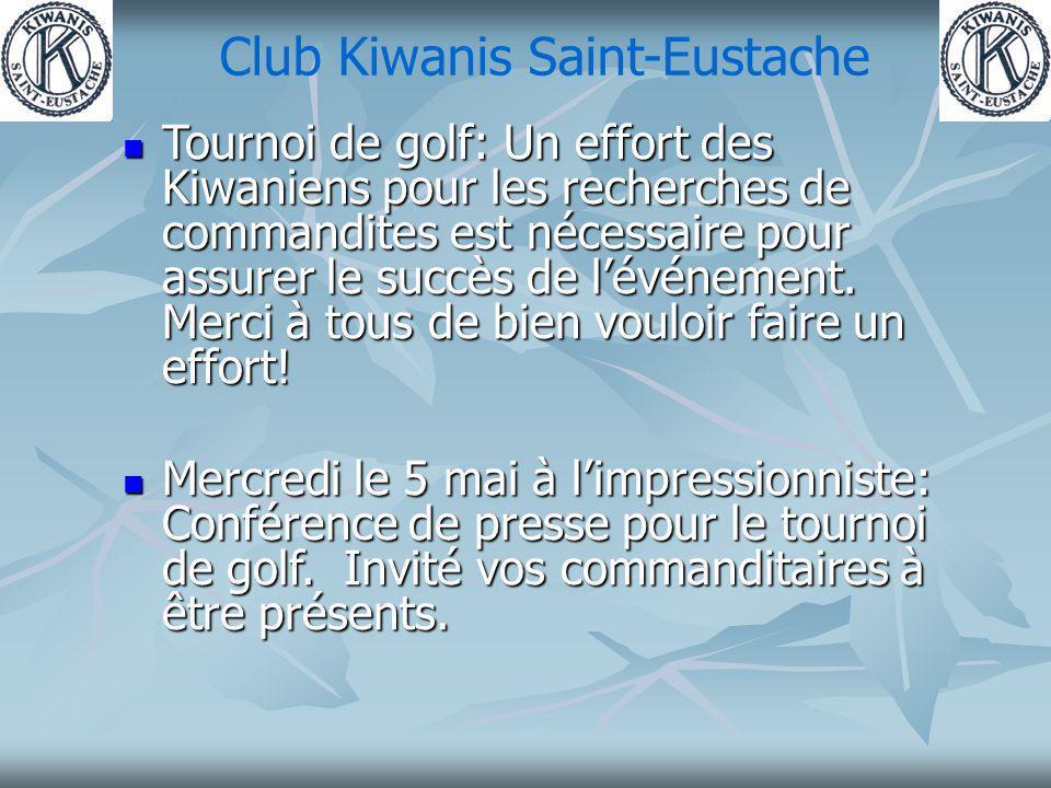 Club Kiwanis Saint-Eustache Tournoi de golf: Un effort des Kiwaniens pour les recherches de commandites est nécessaire pour assurer le succès de lévénement.