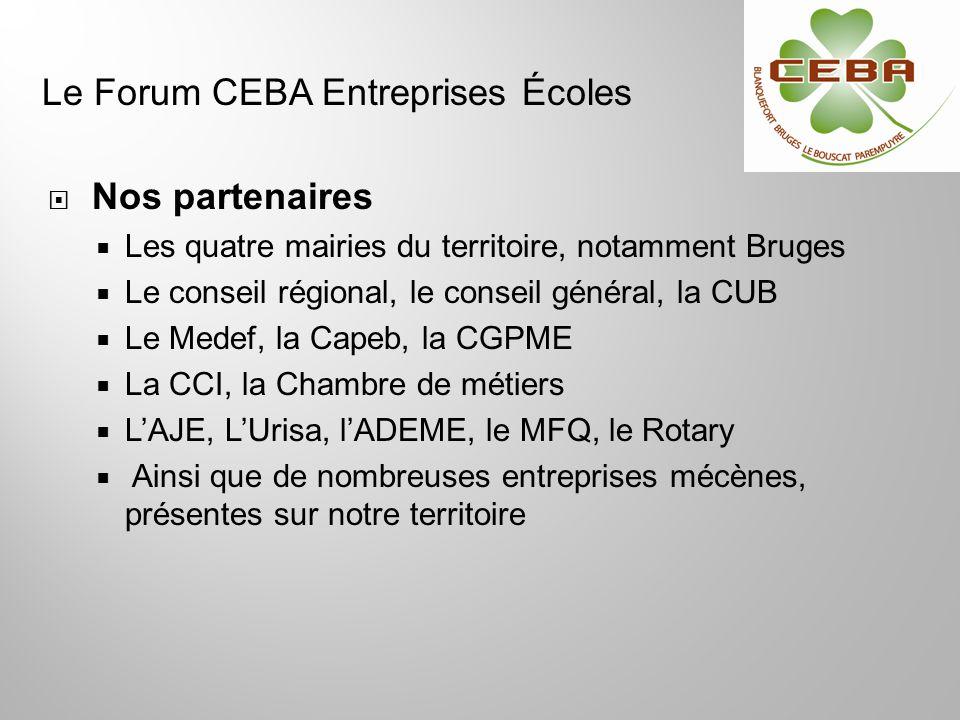Nos partenaires Les quatre mairies du territoire, notamment Bruges Le conseil régional, le conseil général, la CUB Le Medef, la Capeb, la CGPME La CCI