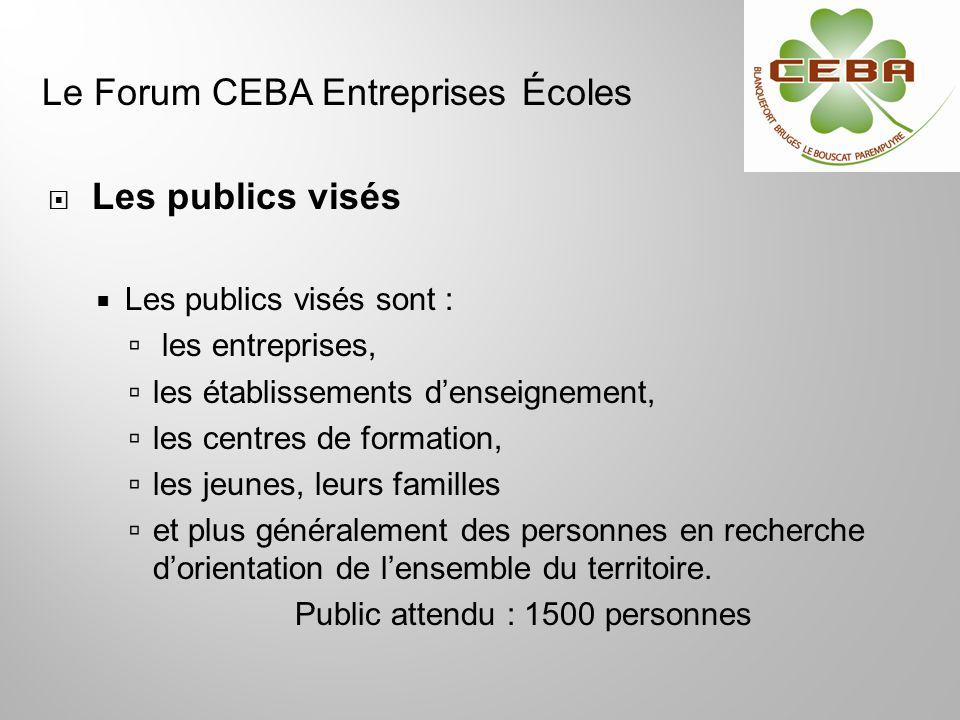 Les publics visés Les publics visés sont : les entreprises, les établissements denseignement, les centres de formation, les jeunes, leurs familles et