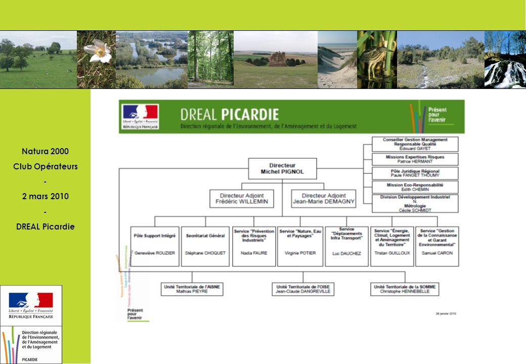 Natura 2000 Club Opérateurs - 2 mars 2010 - DREAL Picardie Préserver les milieux naturels et la biodiversité: les priorités du MEDDM Poursuivre la mise en œuvre de Natura 2000 Renforcer la connaissance et lexpertise à l échelle régionale: mettre en place un atlas régional du patrimoine naturel Réduire le morcellement des milieux naturels: engager les études relatives à lélaboration du schéma régional de cohérence écologique (trame verte et bleue) Décliner les plans d actions espèces protégées Apporter un soutien technique et financier aux politiques partenariales en faveur de la nature Progresser dans la lutte contre les espèces invasives