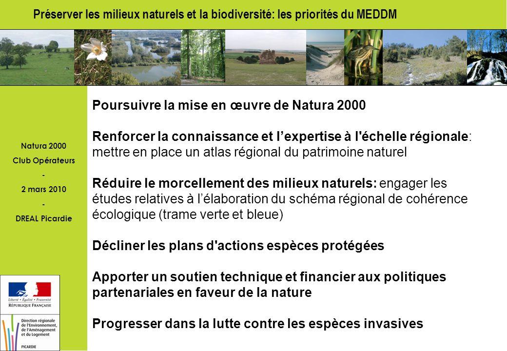 Natura 2000 Club Opérateurs - 2 mars 2010 - DREAL Picardie Objectifs Natura 2000 Finaliser l élaboration des DOCOB sur 2010-11 Intensifier l animation et la signature des contrats et chartes Mettre en œuvre le nouveau régime dévaluation des incidences Indicateurs : taux de sites Natura 2000 dont le DOCOB est achevé: Picardie 36 %- cible 100 % fin 2011 en animation: Picardie 23 %- cible 50% fin 2010 dotés de chartes ou de contrats: Picardie 17 %- cible 50% fin 2010
