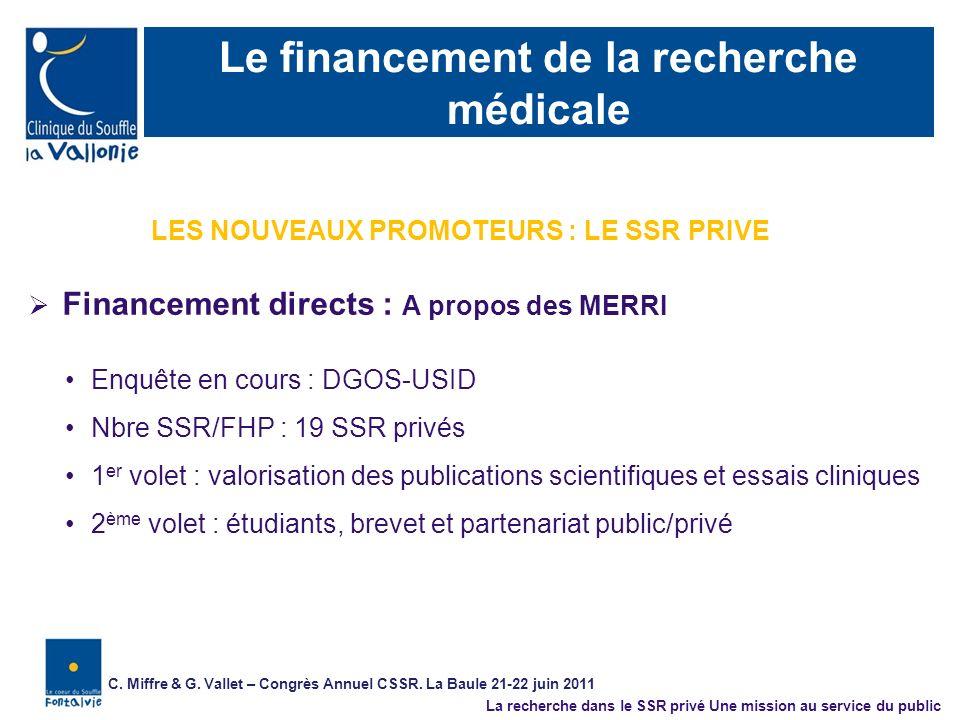 Le financement de la recherche médicale Financement directs : A propos des MERRI Enquête en cours : DGOS-USID Nbre SSR/FHP : 19 SSR privés 1 er volet