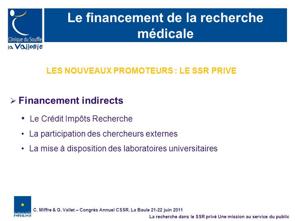 Le financement de la recherche médicale Financement indirects Le Crédit Impôts Recherche La participation des chercheurs externes La mise à dispositio