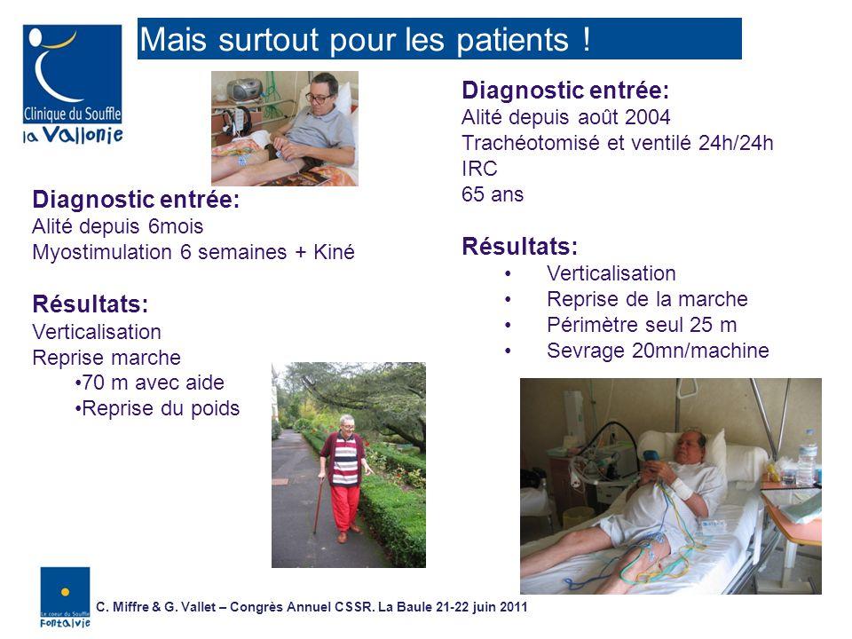 Diagnostic entrée: Alité depuis 6mois Myostimulation 6 semaines + Kiné Résultats: Verticalisation Reprise marche 70 m avec aide Reprise du poids Diagn