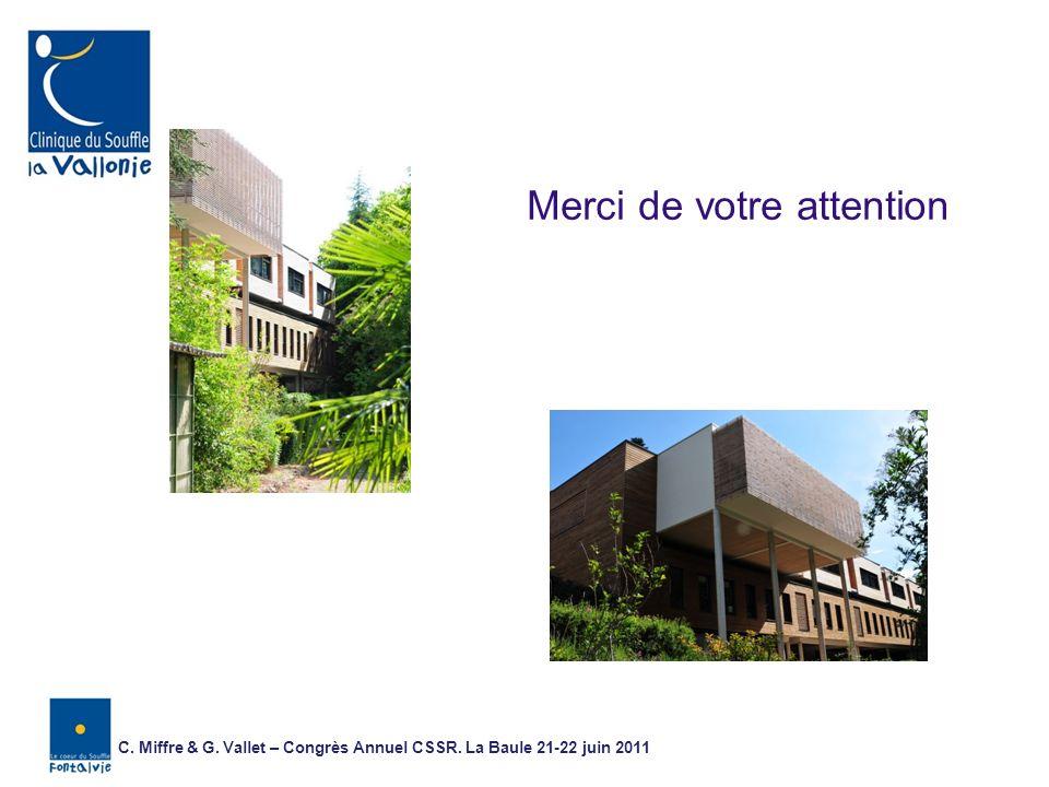Merci de votre attention C. Miffre & G. Vallet – Congrès Annuel CSSR. La Baule 21-22 juin 2011