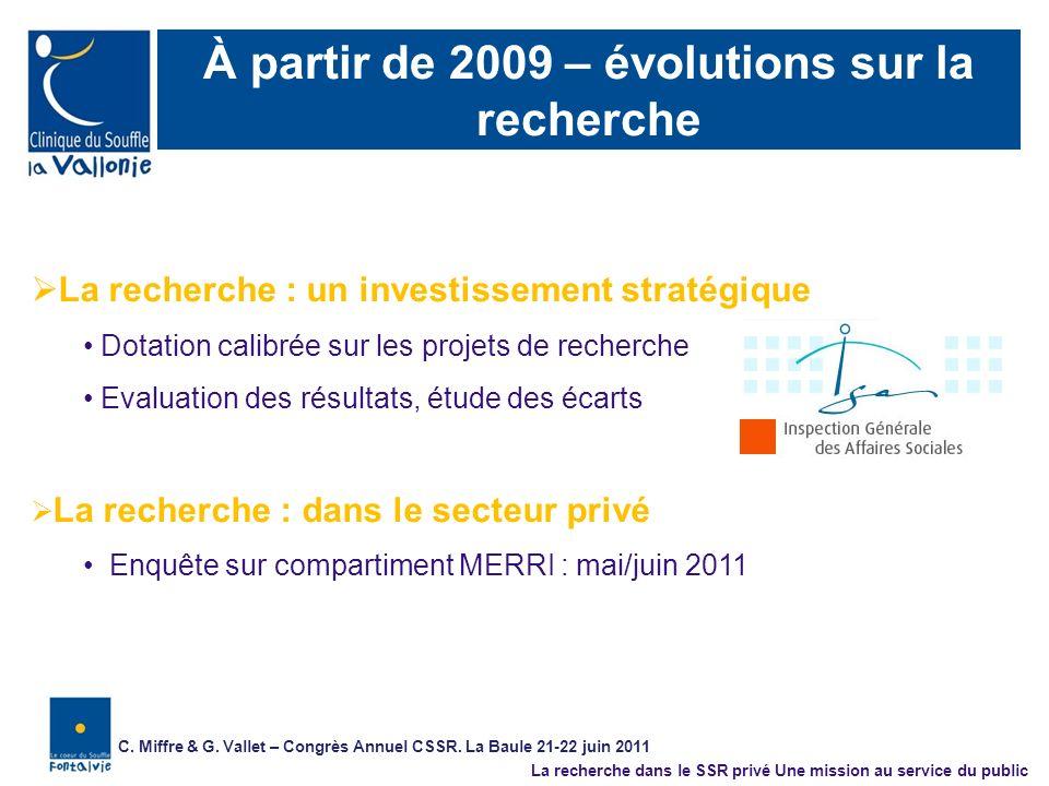 À partir de 2009 – évolutions sur la recherche La recherche : un investissement stratégique Dotation calibrée sur les projets de recherche Evaluation