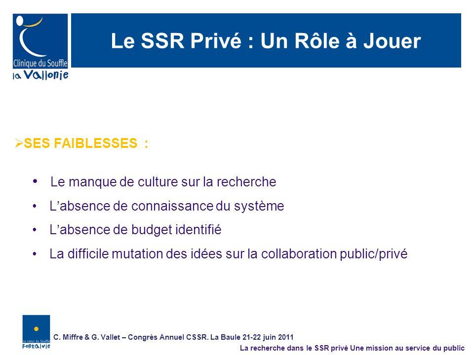 Le SSR Privé : Un Rôle à Jouer SES FAIBLESSES : Le manque de culture sur la recherche Labsence de connaissance du système Labsence de budget identifié