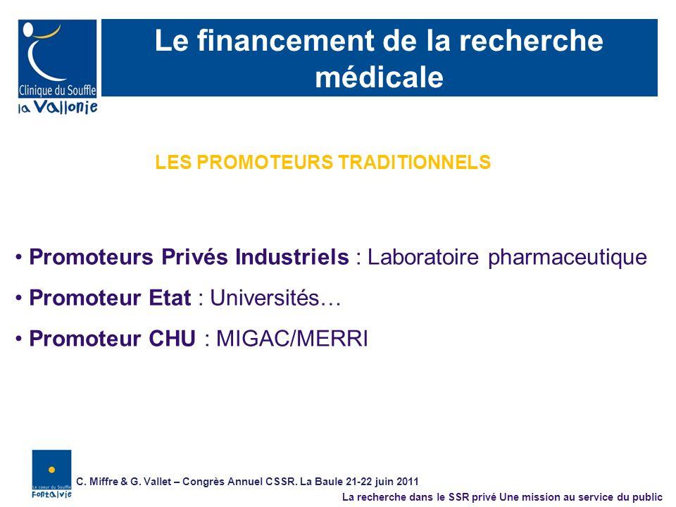 Le financement de la recherche médicale Promoteurs Privés Industriels : Laboratoire pharmaceutique Promoteur Etat : Universités… Promoteur CHU : MIGAC