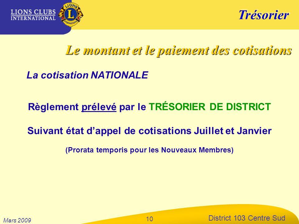 Trésorier District 103 Centre Sud Mars 2009 10 La cotisation NATIONALE Règlement prélevé par le TRÉSORIER DE DISTRICT Suivant état dappel de cotisatio