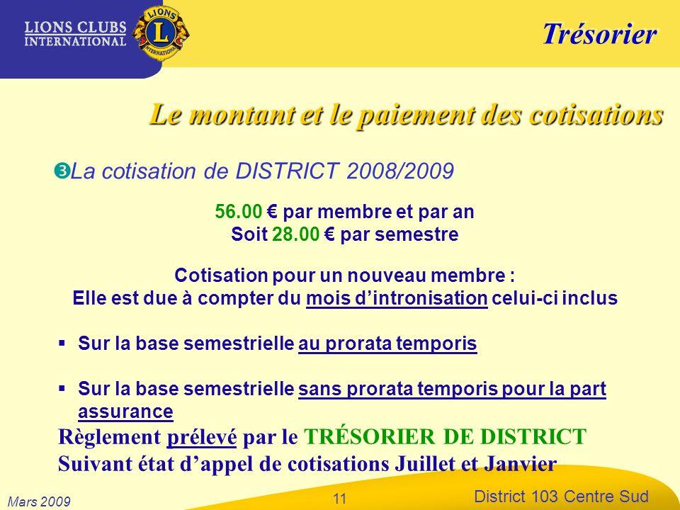 Trésorier District 103 Centre Sud Mars 2009 11 56.00 par membre et par an Soit 28.00 par semestre Cotisation pour un nouveau membre : Elle est due à c