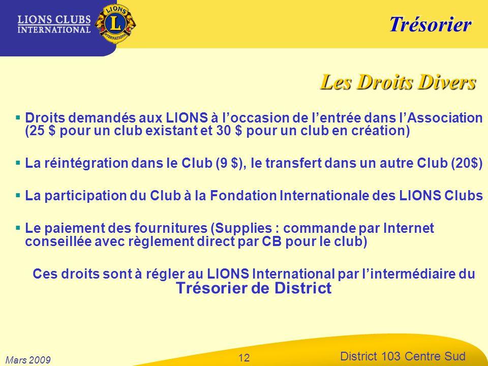 Trésorier District 103 Centre Sud Mars 2009 12 Droits demandés aux LIONS à loccasion de lentrée dans lAssociation (25 $ pour un club existant et 30 $