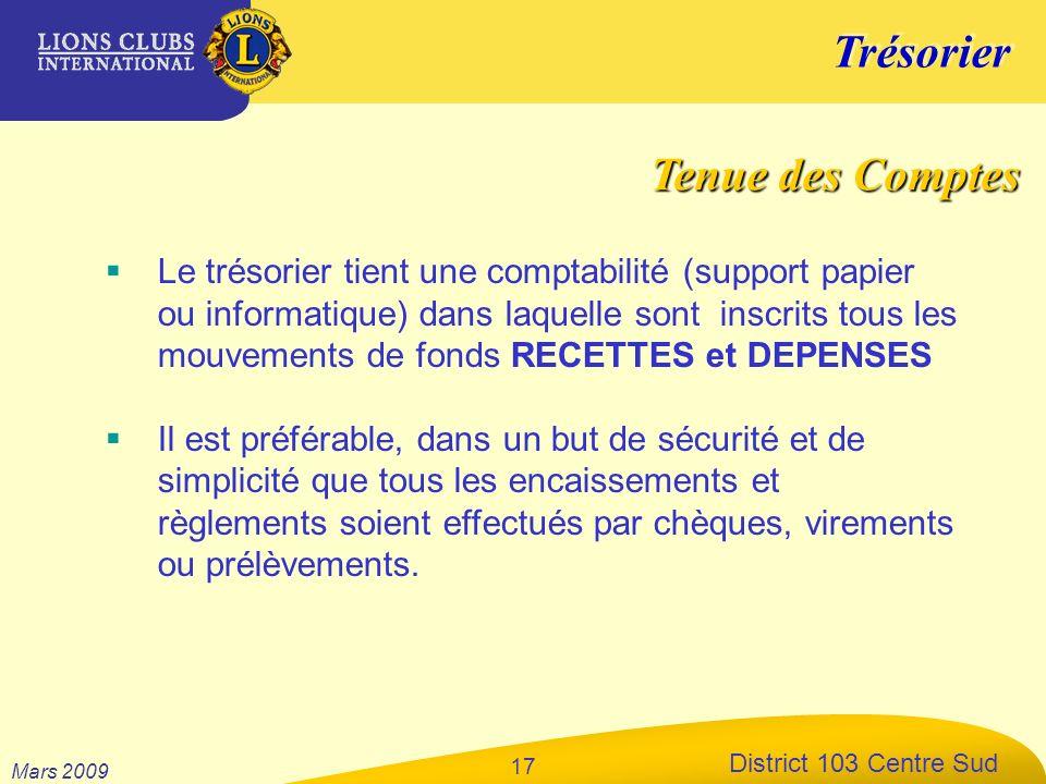 Trésorier District 103 Centre Sud Mars 2009 17 Le trésorier tient une comptabilité (support papier ou informatique) dans laquelle sont inscrits tous l