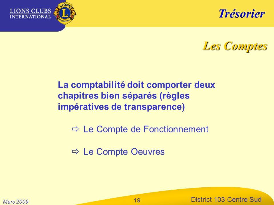 Trésorier District 103 Centre Sud Mars 2009 19 La comptabilité doit comporter deux chapitres bien séparés (règles impératives de transparence) Le Comp