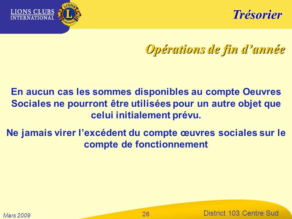Trésorier District 103 Centre Sud Mars 2009 26 En aucun cas les sommes disponibles au compte Oeuvres Sociales ne pourront être utilisées pour un autre