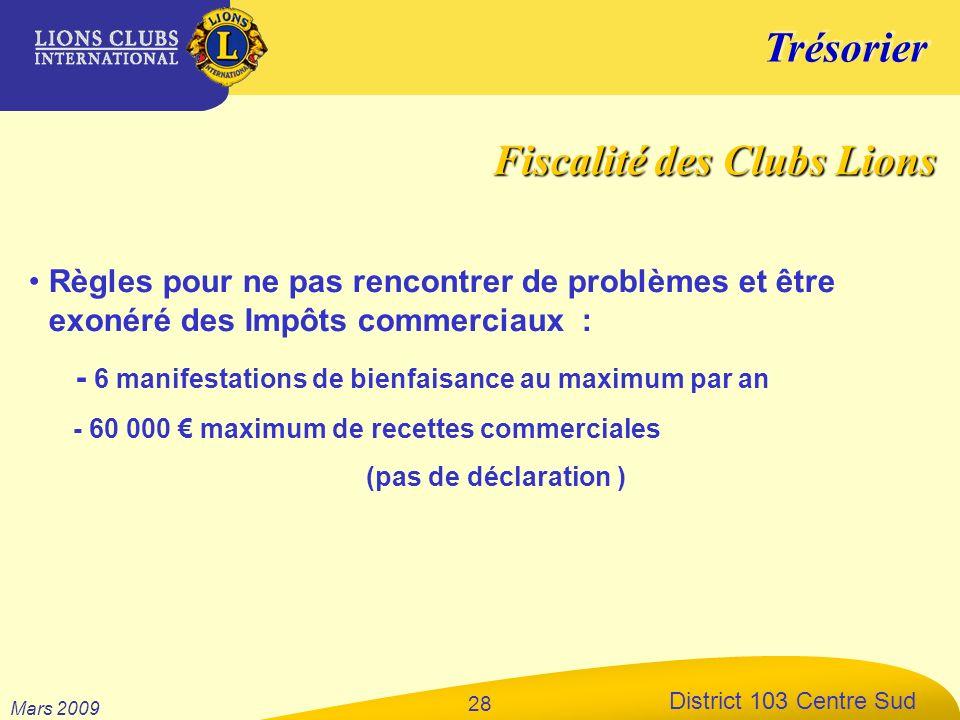 Trésorier District 103 Centre Sud Mars 2009 28 Règles pour ne pas rencontrer de problèmes et être exonéré des Impôts commerciaux : - 6 manifestations