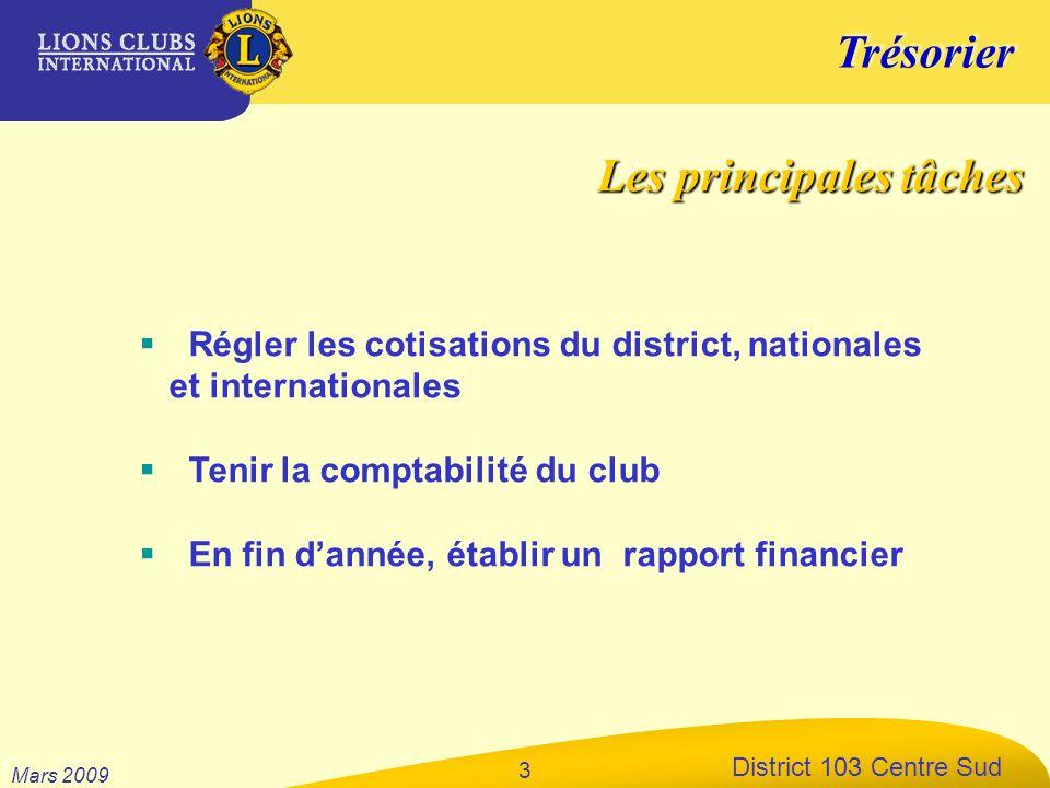 Trésorier District 103 Centre Sud Mars 2009 3 Régler les cotisations du district, nationales et internationales Tenir la comptabilité du club En fin d