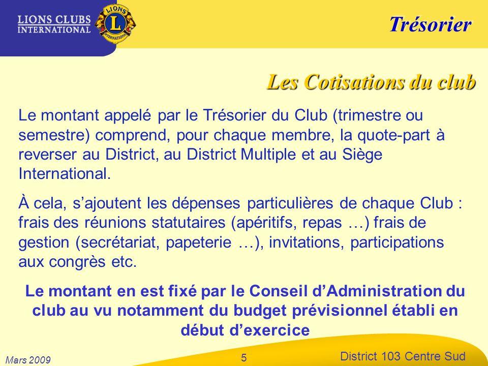 Trésorier District 103 Centre Sud Mars 2009 5 Le montant appelé par le Trésorier du Club (trimestre ou semestre) comprend, pour chaque membre, la quot