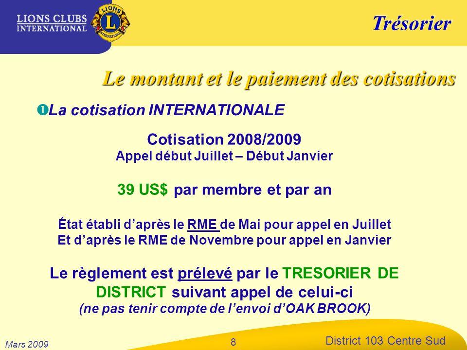 Trésorier District 103 Centre Sud Mars 2009 8 La cotisation INTERNATIONALE Cotisation 2008/2009 Appel début Juillet – Début Janvier 39 US$ par membre