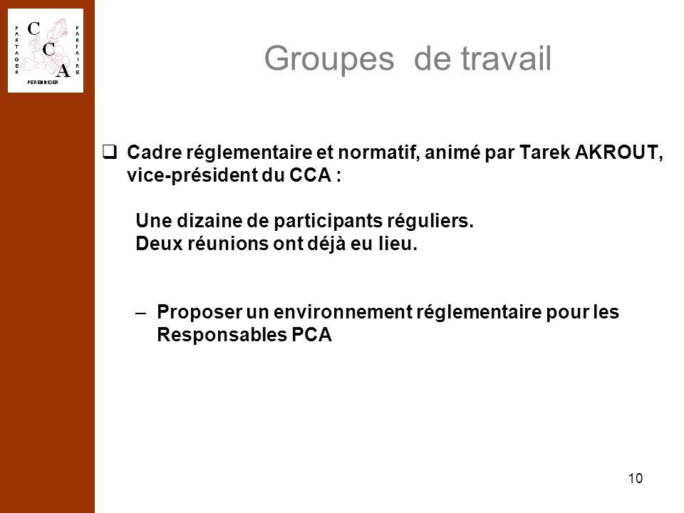 10 Groupes de travail Cadre réglementaire et normatif, animé par Tarek AKROUT, vice-président du CCA : Une dizaine de participants réguliers. Deux réu