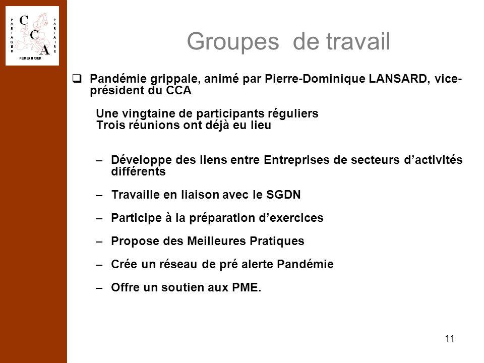11 Groupes de travail Pandémie grippale, animé par Pierre-Dominique LANSARD, vice- président du CCA Une vingtaine de participants réguliers Trois réun