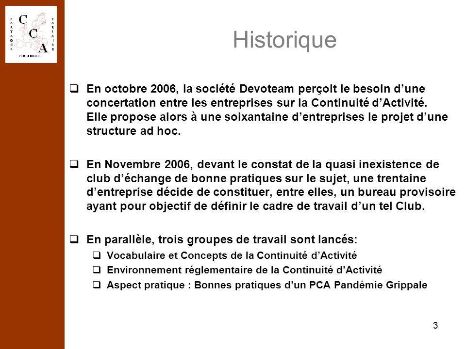 4 Historique (suite) Les Statuts de lAssociation « Loi 1901 » du Club de la Continuité dActivité ont été déposés à la Préfecture des Hauts de Seine et publiés au Journal Officiel au début 2007.