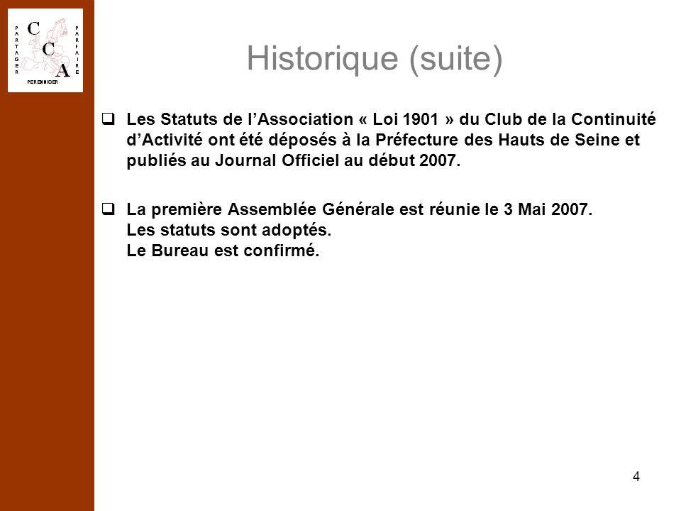 4 Historique (suite) Les Statuts de lAssociation « Loi 1901 » du Club de la Continuité dActivité ont été déposés à la Préfecture des Hauts de Seine et