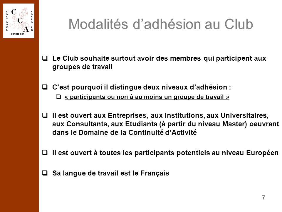 7 Modalités dadhésion au Club Le Club souhaite surtout avoir des membres qui participent aux groupes de travail Cest pourquoi il distingue deux niveau