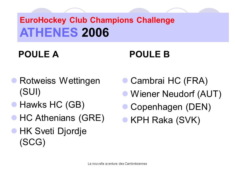 La nouvelle aventure des Cambrésiennes POULE A Rotweiss Wettingen (SUI) Hawks HC (GB) HC Athenians (GRE) HK Sveti Djordje (SCG) POULE B Cambrai HC (FRA) Wiener Neudorf (AUT) Copenhagen (DEN) KPH Raka (SVK)