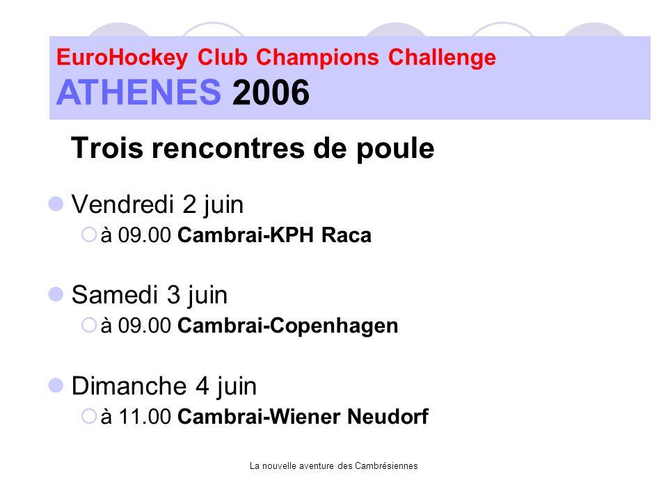 La nouvelle aventure des Cambrésiennes Trois rencontres de poule Vendredi 2 juin à 09.00 Cambrai-KPH Raca Samedi 3 juin à 09.00 Cambrai-Copenhagen Dimanche 4 juin à 11.00 Cambrai-Wiener Neudorf