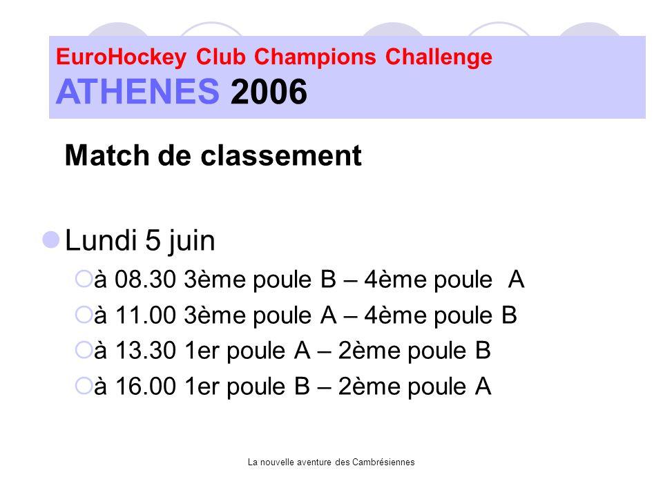 La nouvelle aventure des Cambrésiennes Match de classement Lundi 5 juin à 08.30 3ème poule B – 4ème poule A à 11.00 3ème poule A – 4ème poule B à 13.30 1er poule A – 2ème poule B à 16.00 1er poule B – 2ème poule A