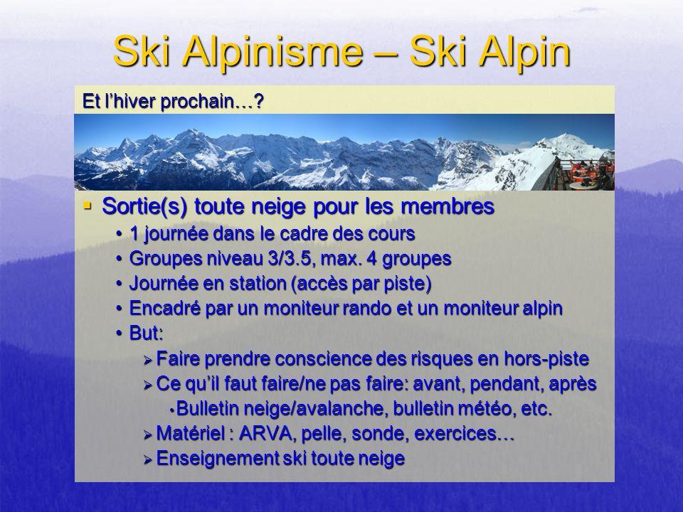 Sortie(s) toute neige pour les membres Sortie(s) toute neige pour les membres 1 journée dans le cadre des cours1 journée dans le cadre des cours Group