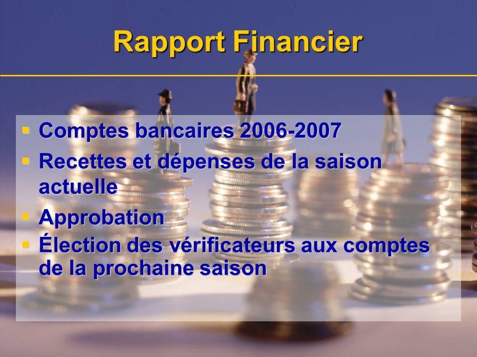 Rapport Financier Comptes bancaires 2006-2007 Comptes bancaires 2006-2007 Recettes et dépenses de la saison actuelle Recettes et dépenses de la saison